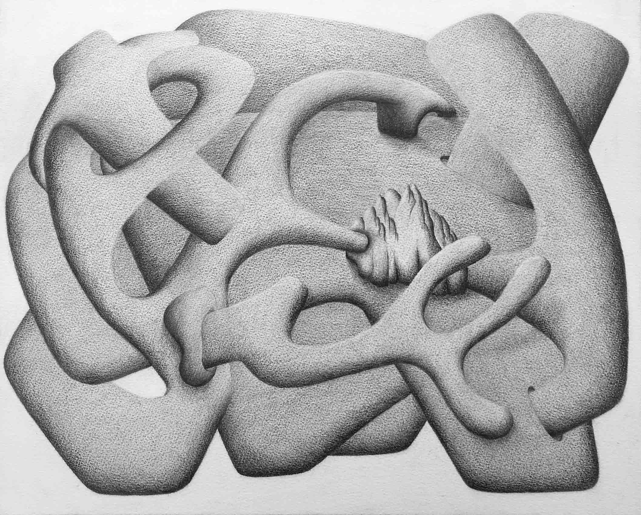 """Fugue"", N°DF10, 2019, Pencil on paper, 24cm by 32cm, 2019 ©Pascal Demeester"