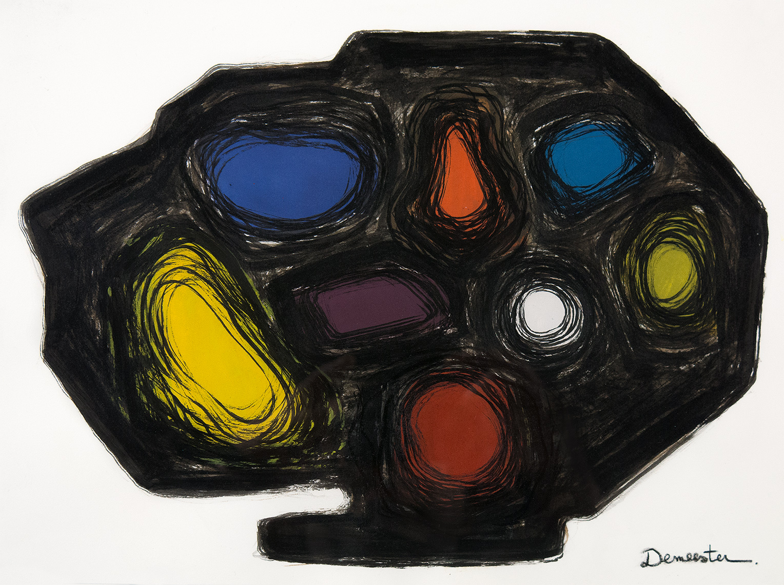 """Athanor N°S1A12"", Series1, gouache, indian ink, walnut ink, charcoal, crayons 30.48 by 22.86 cm /12  by 9 inches 1/5/2017, ©Pascal Demeester"